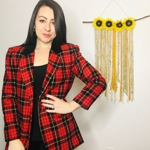 Vintage SAG HARBOR Red Plaid Wool Blazer jacket